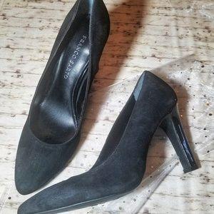 Franco Sarto Black Suede Heels EUC Size 7.5
